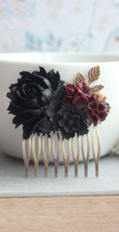 Black rose hair comb