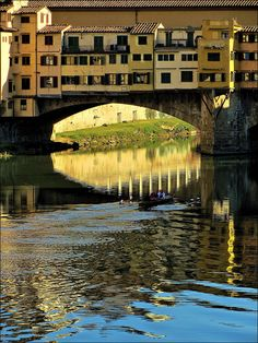 Rowing in the colours, Ponte Vecchio, Florence, Italy