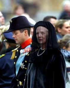 Crown Prince Frederik and Queen Margarethe II. of Denmark attending the funeral of Queen Mother Ingrid of Denmark (14.11.)