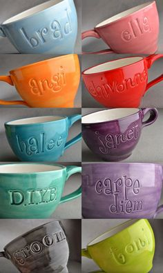 Personalized Mug: Made To Order Personalized Stamped Soup Cocoa Mug by Symmetrical Pottery. $25.00, via Etsy.