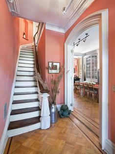 Staircase Salmon Color Design, Pictures, Remodel, Decor and Ideas