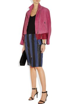 3.1 Phillip jacket, and Acne'Voila Stripe' textured-leather pencil skirt