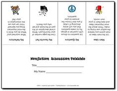 Nonfiction Discussion Foldable Freebie - Fold lengthwise and cut on the lines to form flaps - students record responses to questions under flaps to prepare for discussions