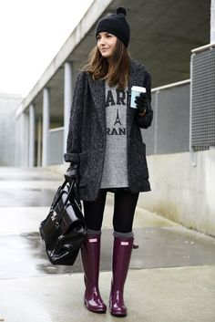 Popular Fashion blog posts fashion, cloth, color, winter style, rainy day outfits, street styles, hunter boot, coats, boots