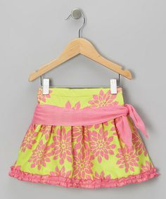 Look what I found on #zulily! Pink & Green Floral Sash Skirt - Infant, Toddler & Girls #zulilyfinds