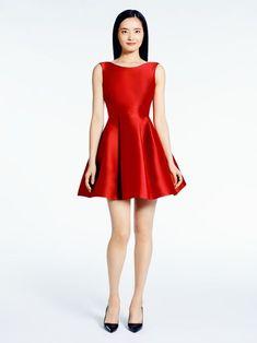 open red silk mini dress