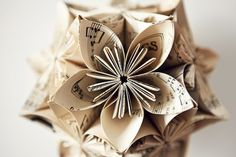 flOwer craft, art, paper flowers, sheet music, papers, music sheets, christma, origami flowers, old books