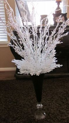 Winter Wonderland Centerpieces :  wedding manzanita centerpiece winter wonderland bling white diy reception IMG 0230