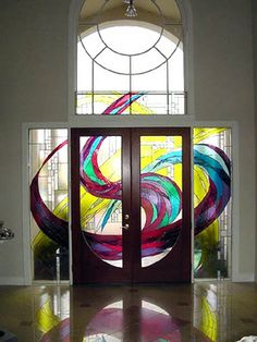 Stained glass front door, entryway