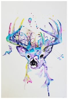 Whimsical Buck Deer Illustration, this would make a great watercolour tattoo! But without the carnival mixed in the rack