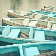 blue and white boats