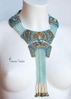 bead color, color necklac, bead embroideri, bead collar