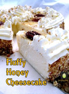 Fluffy Honey Cheesecake. A wonderful soft and dreamy cheesecake topped with Honey roasted pecans too! #dessert #cheesecake #honey #pecans