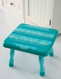 stenciled stool ~ Mod Podge Rocks!