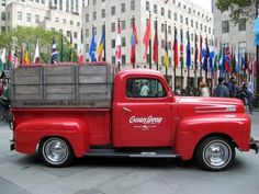 1949 Red Ford pickup truck - classic!