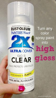 10 paintloss spray paint I'm obviously a huge fan of all types of spray paint. However, my personal fave is high gloss spray paint when it comes to coating small accessories or ceramics. The only problem is that not every spray paint color is sold in a high gloss finish. To remedy this inconvenience you can buy whatever color spray paint you want in a flat finish and then get a can of clear gloss. It instantly gives anything a glossy, factory-like finish.