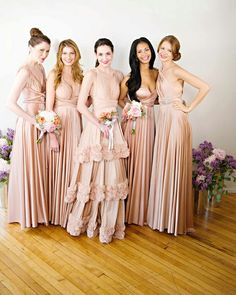 Long nude bridesmaid dresses