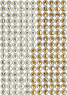 FREE printable typewriter key character sheet // alphabet // letters