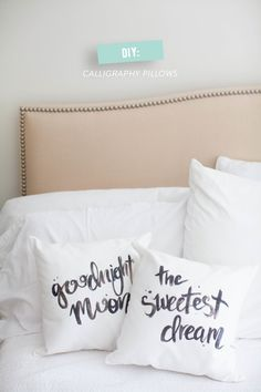 DIY Calligraphy Pillows #diy #bedding    Read More: http://www.stylemepretty.com/living/2014/03/18/diy-no-sew-dog-bed/