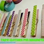 Washi Tape Clothespin Magnets