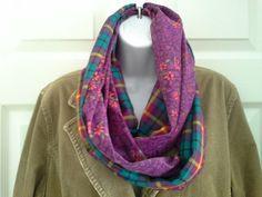Repurposed Vintage Fabric Infinity Scarf Wool Blend by VestigeWear