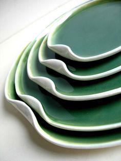 Handmade Green And White Nested Serving Plate Set by NewMoonStudio
