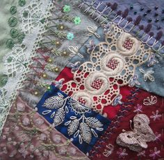 I ❤ crazy quilting & embroidery . . . Encrusted block for Ritva in CQI. ~By Margreet Draadjespaleis