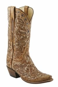 Ladies Lucchese Classics Destroyed Tan Seminole Hand Tooled Western Boots L4692