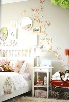 Twinkle. Wall color?  Nice with white furniture and light pink accents. Butterflies are a must!
