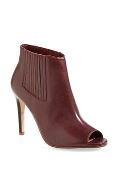 Love these office worthy burgundy peep toe booties.