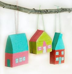 hous ornament, little houses, glitter houses, tiny houses, mini houses, cardboard houses, paper houses, house decorations