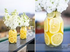 Beautiful Lemon centerpiece ideas-perfect for summer decorating.