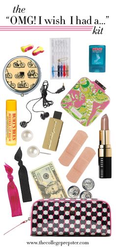 kit to have stashed away filled with things that are smart to have on hand. Ear plugs, sewing kit, band aid blister block, pill box with your medicine, headphones, mobile charger, burts bees,lilly pulitzer thumb drive, faux pearls, pony tail holders, band-aids, 20 dollar bill. Toss into a cosmetic case, and throw into your tote bag. So smart for traveling.
