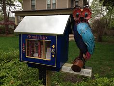 Cindy Koesster. Lawrence, KS.   My sister and brother-in-law (Leslie and Jeff McManus) created this wonderful library for my birthday and installed it Easter weekend 2013. It has been a great success in our neighborhood and patrons of all ages have left us wonderful notes.