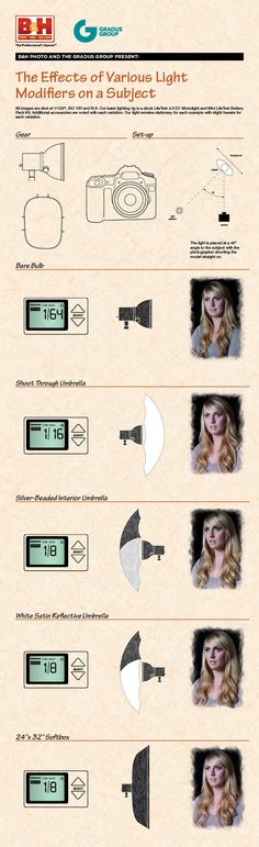 From B, a comparison of various light modifiers on the same subject in the same conditions.