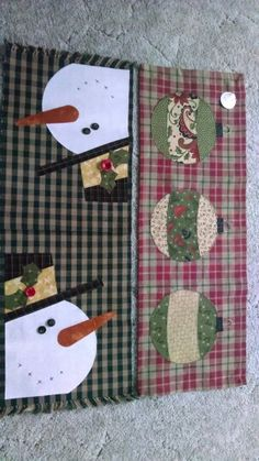 Snowman and ornament table runners