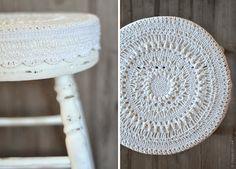 crochet mandala stool cover