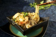 Low-Carb Shrimp and Angel Hair Pasta (Asian Style) | The Pescetarian and the Pig