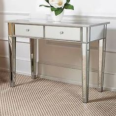 Regency Hollywood Mirrored Console Table Vanity Desk Mirror Glam 2 Drawers