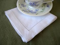Hemstitched Linen Tea Napkins. Perfect for a tea party. Clean and classy.