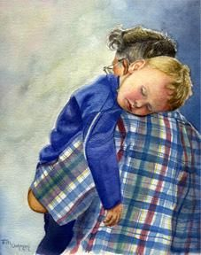 After a Long Day by Terri Meyer (watercolor) Notecards available ---*--- The artist describes the painting.... 'My grandson melted into my father's arms'.   Awwwwww