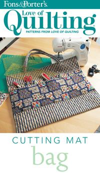 "This great bag is just the right size to tote your 18"" x 24"" cutting mat and 24""-long rulers to your next quilt workshop. The exterior pockets easily accommodate a rotary cutter and other supplies. Designed by Jean Nolte. Bag size is 26"" X 20 1/2""    Please note that this is a digital pattern and the download is only $5!"
