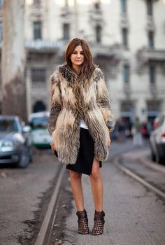 #Street Style #Inspiration #StyleMint skirt, outfits, milan, fashion weeks, furs, christin centenera, street styles, coat, boots