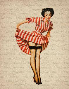 Pin Up Girl Vintage Illustration