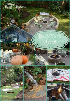 Backyard Project Reveal/ Loads of outdoor DIYs ...paver patio/pondless waterfall/stacked stone wall/ garden gate/firepit...