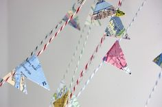 Map Garland for bon voyage party