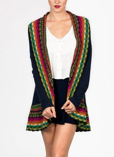 Layer up in this crochet accented flyaway cardigan.