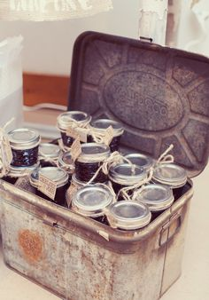 Preserves ... I love this idea ... great party idea ... jars filled with desserts etc.