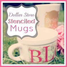 Dollar Store Stenciled Mugs How-To