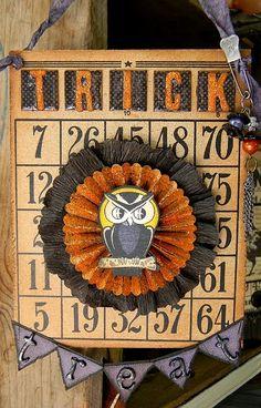 Old Bingo Card embellished for Halloween